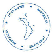 Lord Howe Island map sticker Hipster and retro style badge Minimalistic insignia with round dots border Island vector illustration