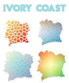 Ivory Coast polygonal map Mosaic style maps collection Bright abstract tessellation geometric