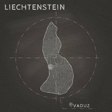 Liechtenstein chalk map with capital marked hand drawn on textured school blackboard Chalk