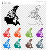 Canada high detailed map Country silhouette icon Isolated Canada black map outline Vector
