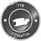 Vis map vintage stamp Retro style handmade label badge or element for travel souvenirs Dark grey