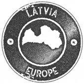 Latvia map vintage stamp Retro style handmade label badge or element for travel souvenirs Dark