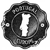 Portugal map vintage stamp Retro style handmade label badge or element for travel souvenirs Black