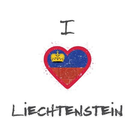 I love Liechtenstein tshirt design Liechtensteiner flag in the shape of heart on white background