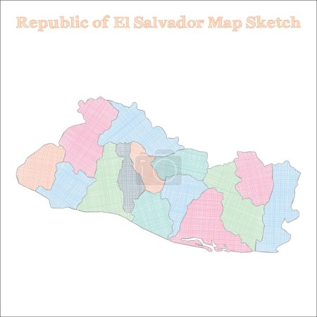 Illustration for Republic of El Salvador map. Hand-drawn country. Breathtaking sketchy Republic of El Salvador map with regions. Vector illustration. - Royalty Free Image