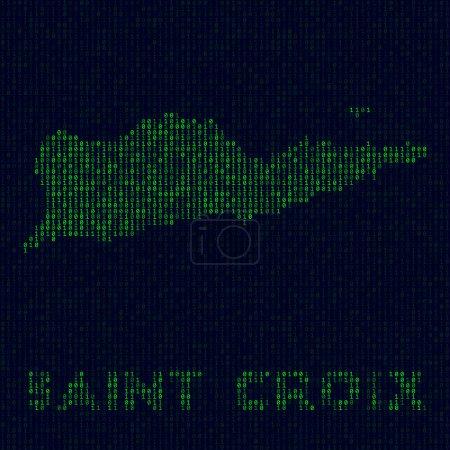 Illustration pour Logo numérique Sainte Croix. Symbole de l'île dans le style pirate. Carte binaire de Sainte Croix avec le nom de l'île. Illustration vectorielle attrayante . - image libre de droit