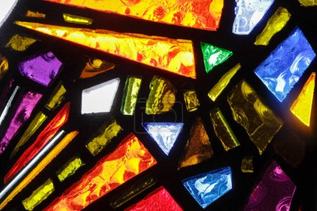 Photo for Photograph of a colorful stained glass window texture - Royalty Free Image