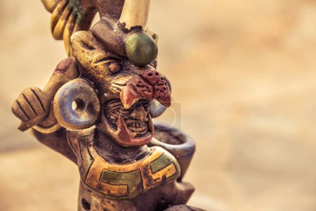 Aztec mexican warrior statue