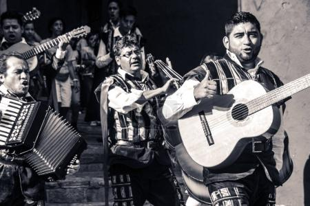 Musicians at traditional mexican Callejoneada