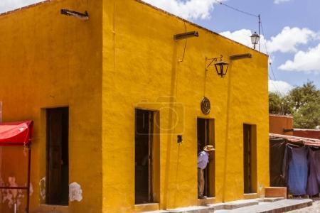 Traditional house facades in San Miguel de Allende Guanajuato Me