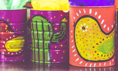 Mexican traditional style painted cans