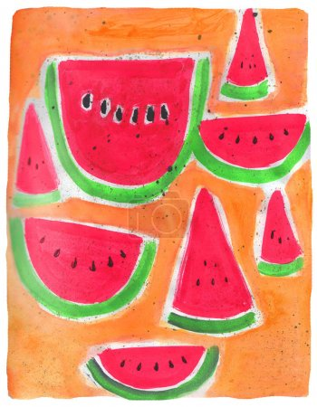Watermelon slices watercolor illustrations