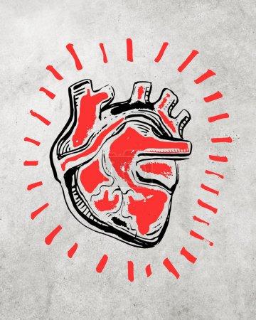 Hand drawn sketch of human heart