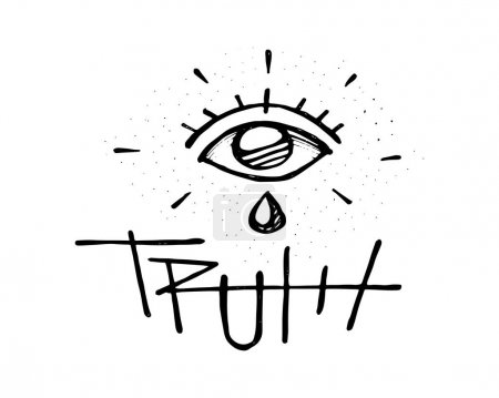 Human eye with tear and the word truth