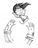 Hand drawn vector illustration or drawing of a happy girl playing on Jesus Christ arms