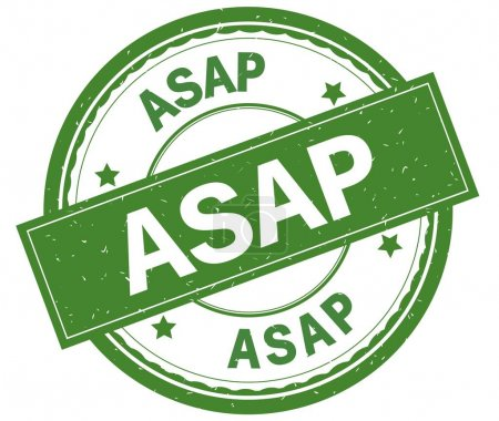 ASAP , written text on green round rubber stamp.