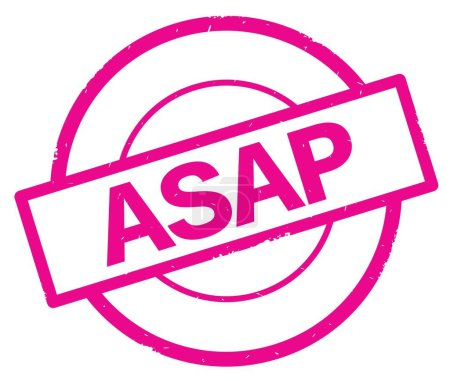 ASAP text, written on pink simple circle stamp.
