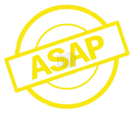 ASAP text, written on yellow simple circle stamp.