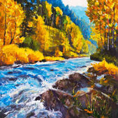Mountain blue river running away into golden autumn - Original oil painting on canvas. Beautiful  landscape. Modern impressionism art. - Modern impressionism painting.