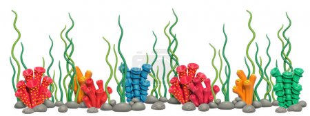 Ocean underwater world with sea corals handmade of plasticine.