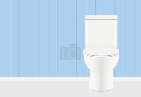 White toilet bowl in blue bathroom.