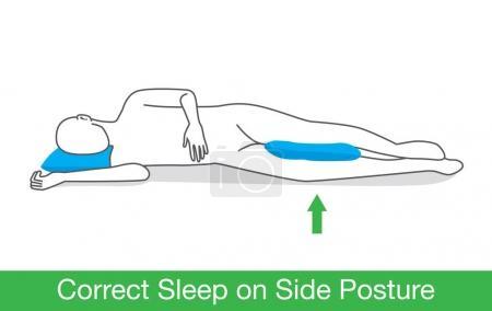 Correct sleep on side posture.