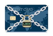 Vector Credit card locked with padlock and chain Illustration about electronic money security system