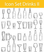 Drawn Doodle Lined Icon Set Drinks II with 32 icons for the creative use in graphic design