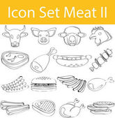 Drawn Doodle Lined Icon Set Meat II