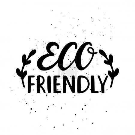 Illustration for Hand drawn Eco friendly lettering. Vector Bio natural green sign. - Royalty Free Image