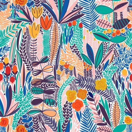 Illustration for Tropical seamless floral pattern. Vector blue illustration - Royalty Free Image