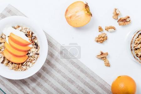 Homemade granola with soy yogurt