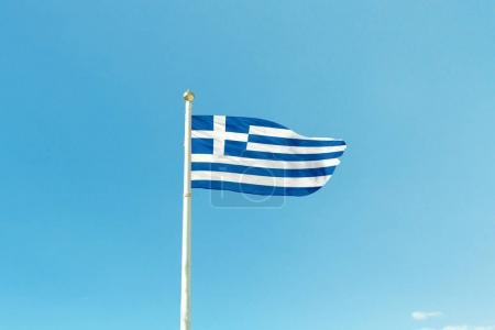 Greece flag on the mast