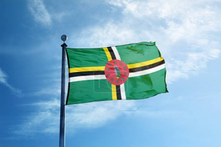 Flag of Dominica on the mast