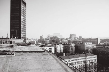 photo of old tall building on sky background