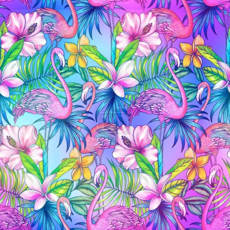 seamless pattern with tropical florals and flamingo.