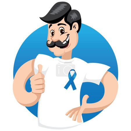 male mascot supporting blue November, against prostate cancer, wearing a white shirt with blue tape and mustache. Ideal for educational materials and information