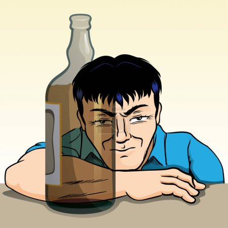Person drunk, irritated, reflected through the bottle of alcoholic beverage. Ideal for awareness campaigns