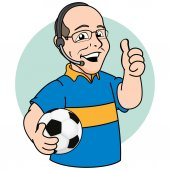 Illustration mascot bald person commentary or sports narrator of football Ideal for promotional or institutional materials