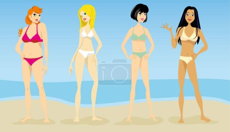 Illustration of Women, models of oval silhouettes, hourglass, pear triangle, thin, slender and plus size. Ideal for catalogs and fashion and beauty materials