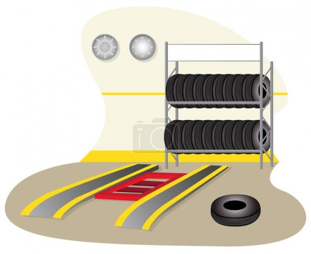 Illustration of a garage, mechanics, tire repair. Ideal for training and institutional material