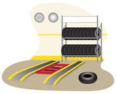 Illustration of a garage mechanics tire repair Ideal for training and institutional material