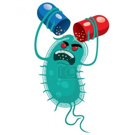 Illustration for Illustration depicts a super bug microorganism, drug resistant or antibiotic. Ideal for informational and medicinal materials - Royalty Free Image
