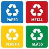 Illustration icons recycling symbols of various materials Ideal for catalogs information and recycling guides