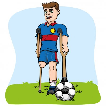 Illustration for Illustration of caucasian mascot, one-legged football player adapted. Ideal for medical and educational materials - Royalty Free Image