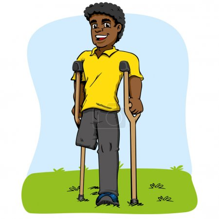 Illustration for Illustration of African descent mascot, one-legged and crutches. Ideal for medical and educational materials - Royalty Free Image