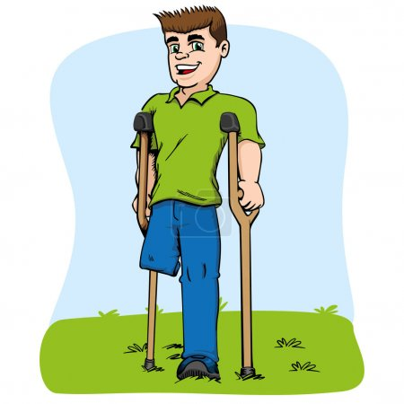 Illustration for Illustration of caucasian mascot, one-legged and crutches. Ideal for medical and educational materials - Royalty Free Image