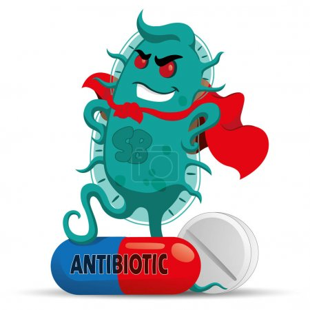 Illustration for The cartoon depicts a superbug microorganism with a super villain cover, getting strong and resistant because of medicine or antibiotic. Ideal for informative and medicinal materials - Royalty Free Image
