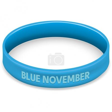 Symbol icone of fight and awareness, blue movember, against prostate cancer, blue bracelet. Ideal for educational and informational materials