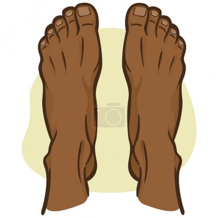 Illustration person, pair of human feet, afro descending, top view. Ideal for catalogs, informational and institutional guides
